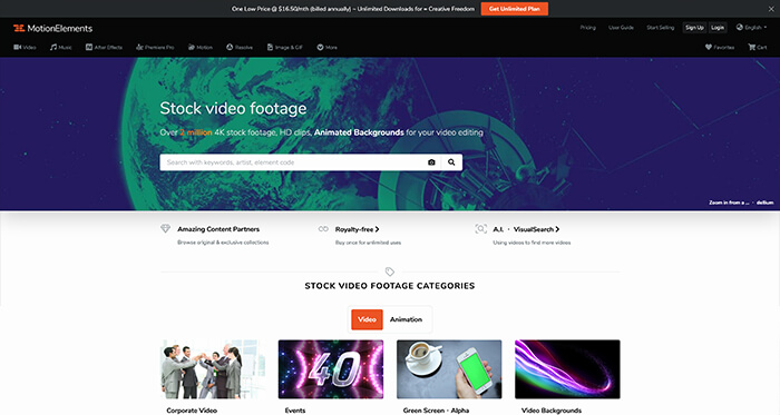 Paid Stock Video Resource: Motion Elements