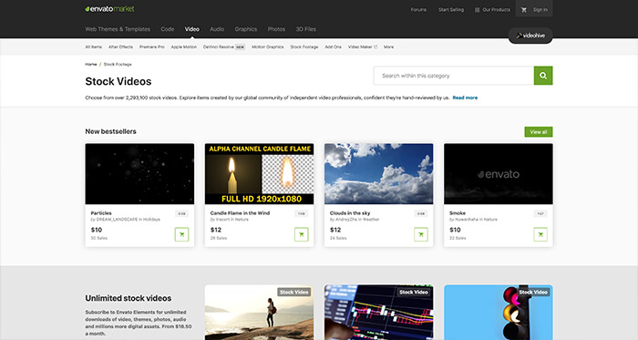 Paid Stock Video Resource: Videohive